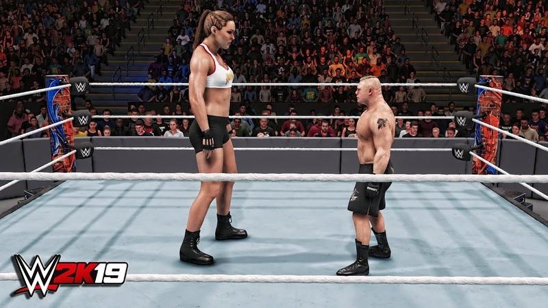 WWE 2K19 Giant Ronda Rousey vs Mini Brock Lesnar Match!
