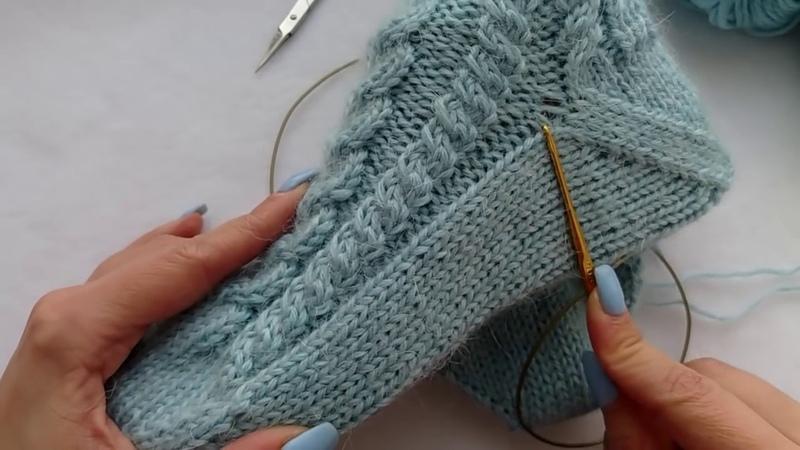 как связать носки спицами с косами от мыска Забытая пятка Подробный МК легко и просто