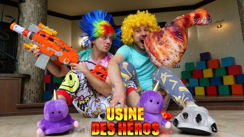 Vidéo drôle pour enfants. Clown vs Dinosaure. Nerf Blaster