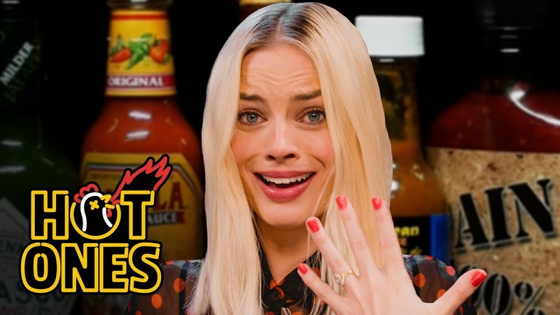 Margot Robbie Pushes Her Limits While Eating Spicy Wings Hot Ones