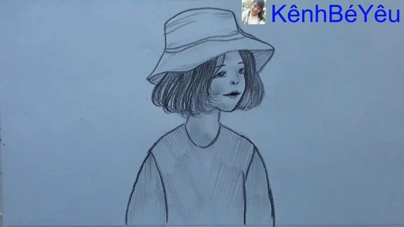 Vẽ bé gái - Vẽ bé gái đội mũ;Drawing baby girl - Drawing baby girl hat.
