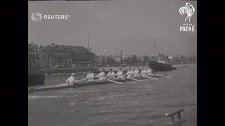 UK: ROWING:  THAMES: THE CAMBRIDGE CREW: (1955)