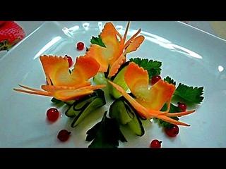 Бабочки из моркови. Butterflies of carrots. Decoration of carrots. Decoration of vegetables