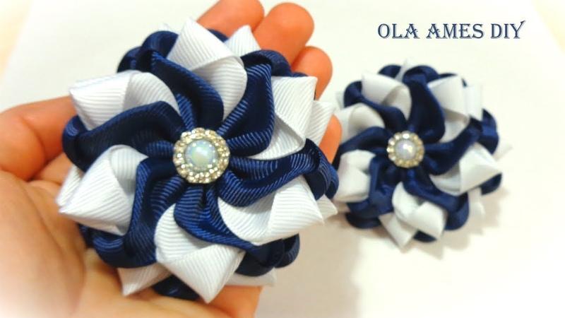 Простые и красивые цветы из лент Канзаши DIY Ribbon Flowers Flores de Fita Ola ameS DIY