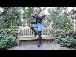 Julie skyhigh smoking in thigh high boots jeans
