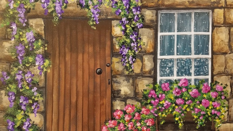 Rustic Stone Doorway with Wisteria Acrylic Painting Tutorial LIVE