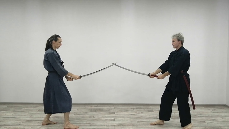 Samurai sword. Katana. Pair training