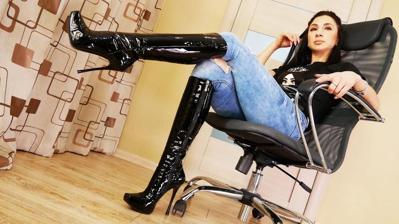 Catherina's square toe platform stiletto Gianmarco Lorenzi patent leather boots Size EU 36 5 US 7
