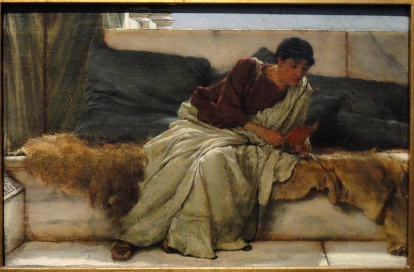 «Сложная строка» сэра Л. Альма-Тадемы (1881). Изображен поэт Гораций.