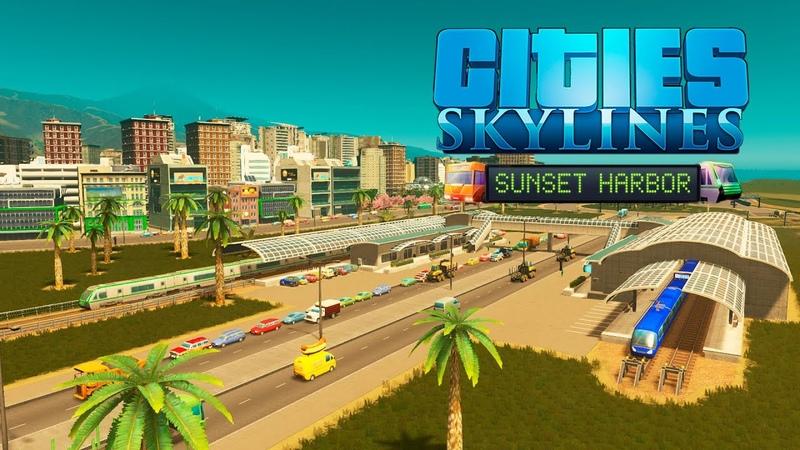 Cities Skylines Sunset Harbor Транспортный узел ж д и надземное метро 46