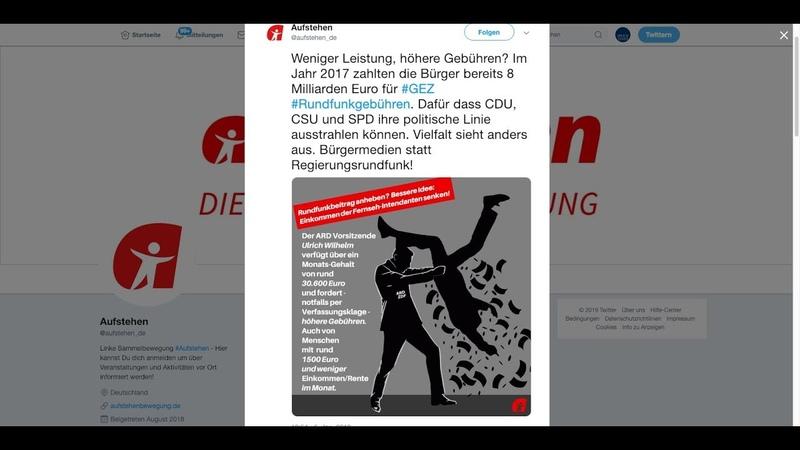 Aufstehen Bewegung kritisiert Rundfunkbeitrag und erntet Empörung