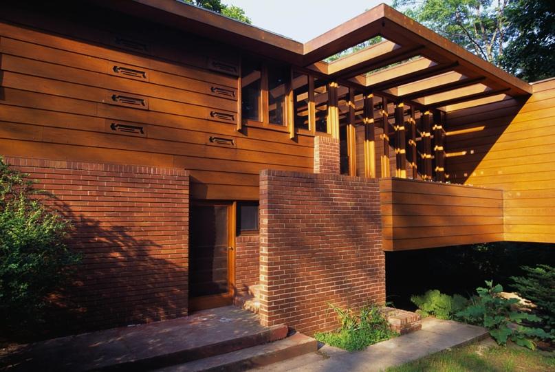 Дом Грегора Аффлека, Блумфилд-Хиллз, Мичиган, спроектированный Фрэнком Ллойдом Райтом, 1941. Фаррелл Грехан