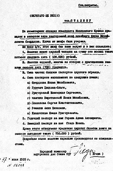 Содержание сейфа Свердлова, вскрытого через 16 лет после его смерти (скан