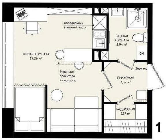 Два варианта организации квадратной студии 29 м (планы без 3д).