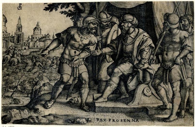1536-1537 г Ларс Порсена сообщил о побеге заложников; сидит справа в окружении четырех солдат; слева - вид на Рим с Клелией и пятью ее товарищами-заложниками, бегущими верхом через Тибр