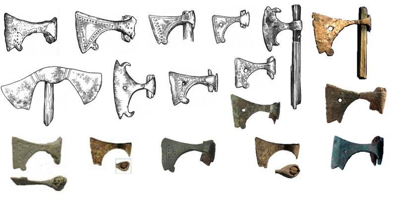 амулеты в виде «секиры Перуна», распространенные на Руси в X-XIII вв.