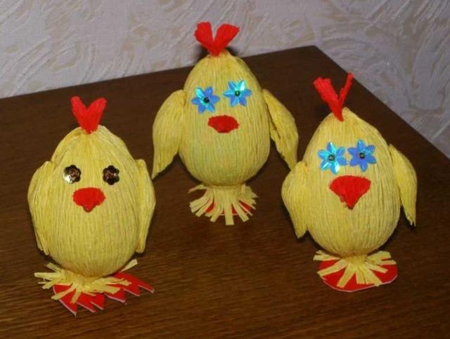 Пасхальные цыплята из киндер-сюрприза и гофрированной бумаги - МК и идеи, как сделать пасхального цыпленка из киндер-сюрприза своими руками,