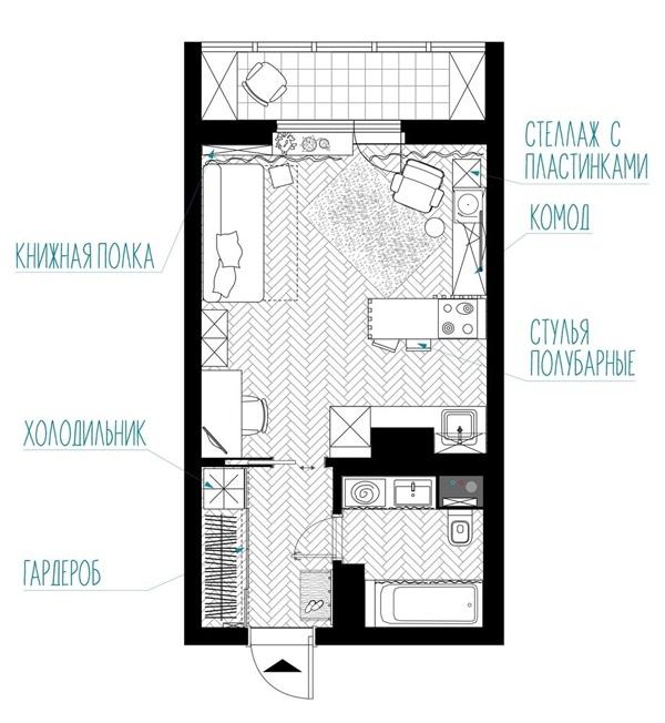 Интерьер квартиры-студии 28 кв.