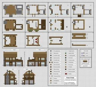 как построить такой же дом большой как в деревне в майнкрафте схема #3