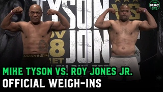 Mike Tyson and Roy Jones Jr. weigh-in ahead of their fight tomorrow