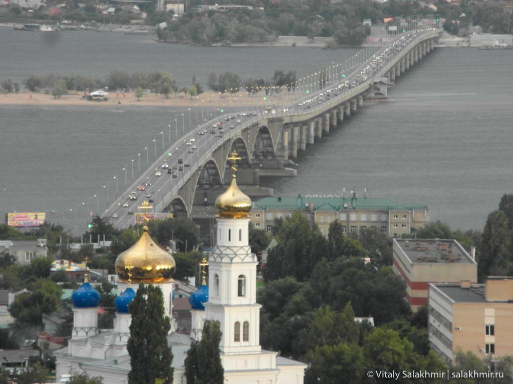 Мост через Волгу в сторону Энгельса, с Соколовой горы