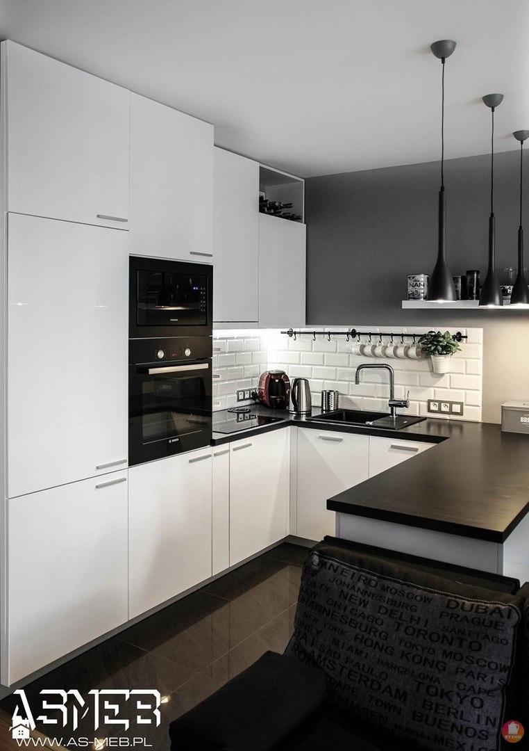 черно белая кухня в квартире студии варшава вконтакте