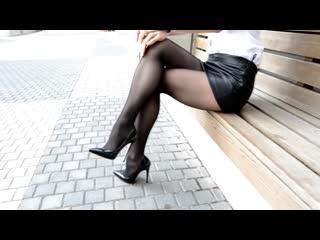 Pantyhose Legs Heels. Mini leather Skirt, Tights  Heels