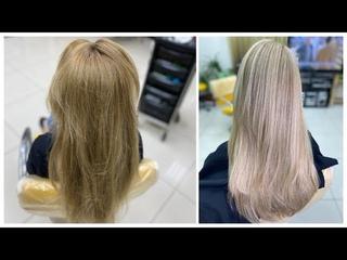 Рассветление длинных волос в блондин. Осветление ранее окрашенных волос. Lightening long hair
